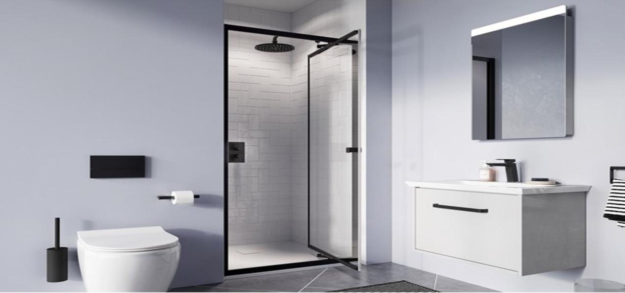 DKB shower enclosure door black framed