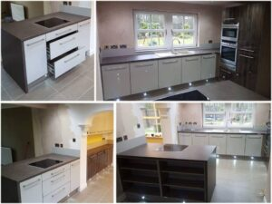 gloss wood and gloss white fitted kitchen