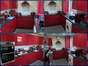 red gloss kitchen
