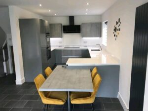 concrete and dust grey kitchen