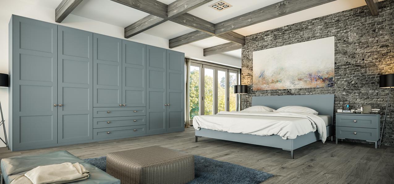 denim blue shaker bedroom