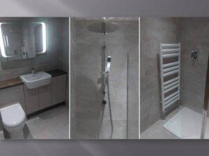 kaizen walnut and beige bathroom units