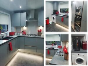 metallic blue fitted kitchen