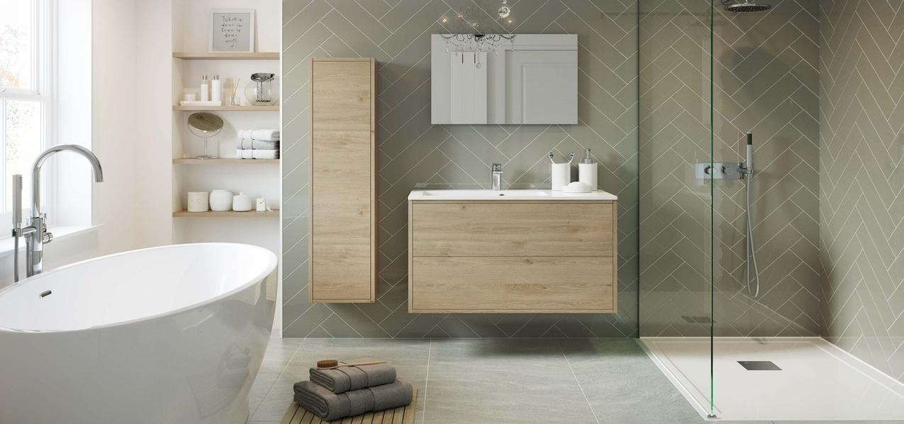 oak bathroom units