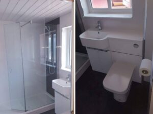 black and white fitted bathroom